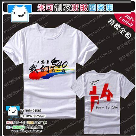 540班纯棉白色短袖拼青春班服图