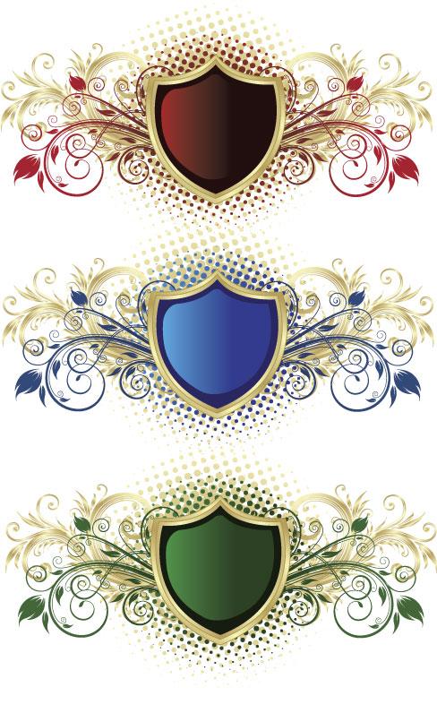 班徽新款盾牌花纹矢量图下载