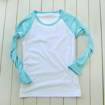 200克水蓝色插肩款长袖空白T恤-文化衫定做-班服