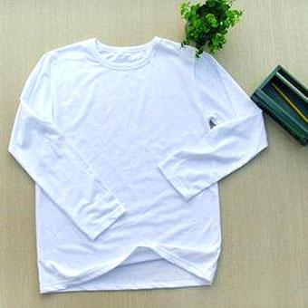 200克纯白色插肩款长袖空白T恤-文化衫定做-班服