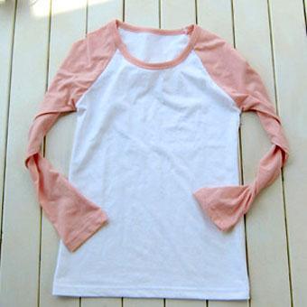 200克粉红色插肩款长袖空白T恤-文化衫定做-班服