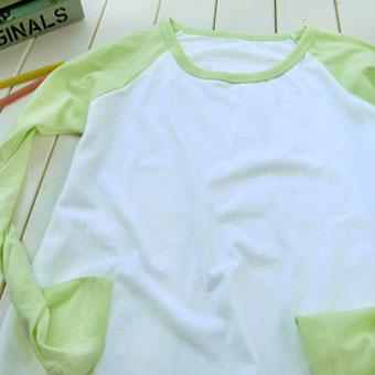 200克果�G色插肩款�L袖空白T恤-文化衫定做-班服