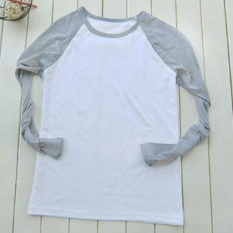 200克灰色插肩款长袖空白T恤-文化衫定做-班服