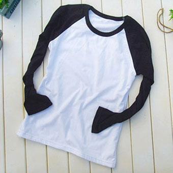200克黑色插肩款长袖空白T恤-文化衫定做-班服